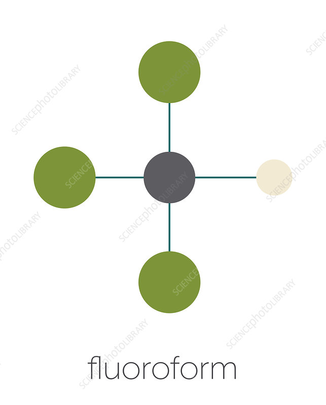 Fluoroform greenhouse gas molecule, illustration