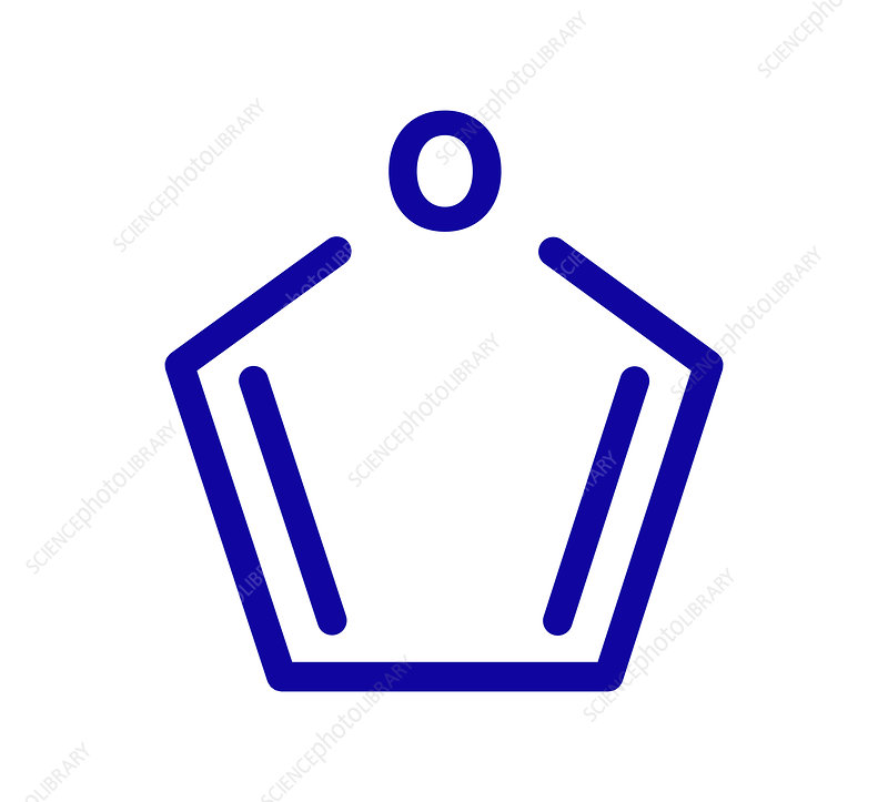 Furan heterocyclic aromatic molecule, illustration