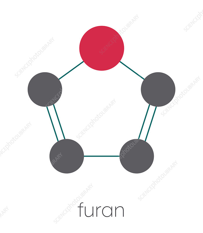 Furan heterocyclic aromatic molecule, illustration