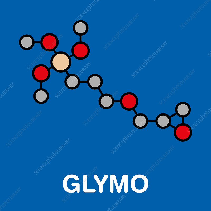 GLYMO organosilane molecule, illustration