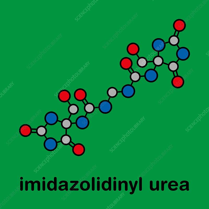 Imidazolidinyl urea antimicrobial molecule, illustration