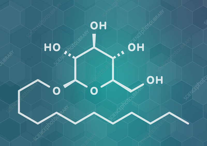 Lauryl glucoside non-ionic surfactant molecule, illustration