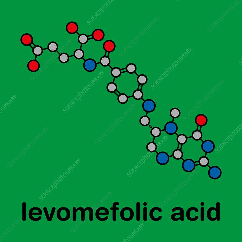 Levomefolic acid molecule, illustration