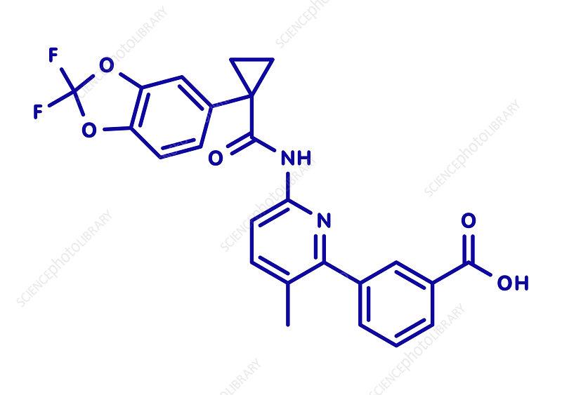 Lumacaftor cystic fibrosis drug molecule, illustration