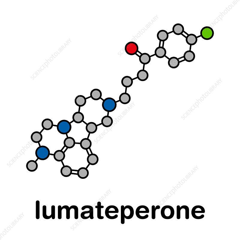 Lumateperone antipsychotic drug molecule, illustration