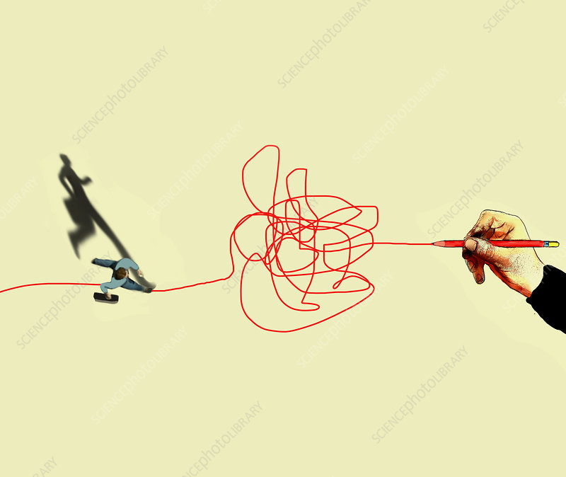 Trouble ahead, conceptual illustration