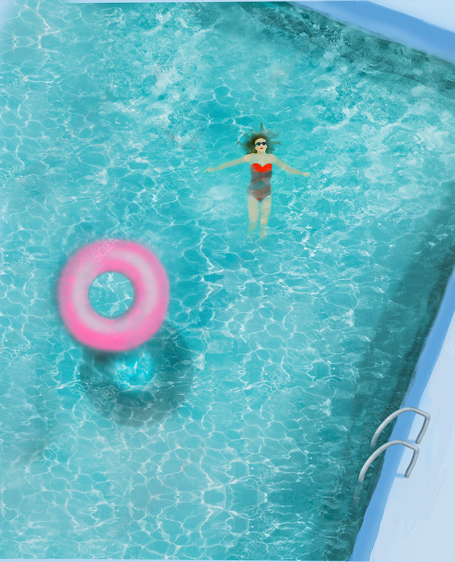 Woman floating in swimming pool, illustration