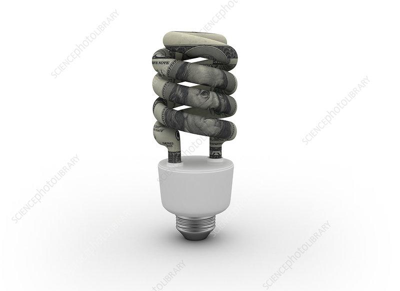Energy saving light bulb, illustration