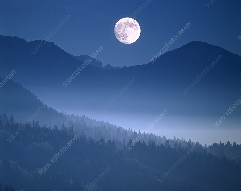 Full Moon Over Bavarian Alps