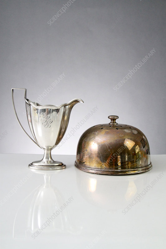 Polished Cup and Tarnished Cake Dome