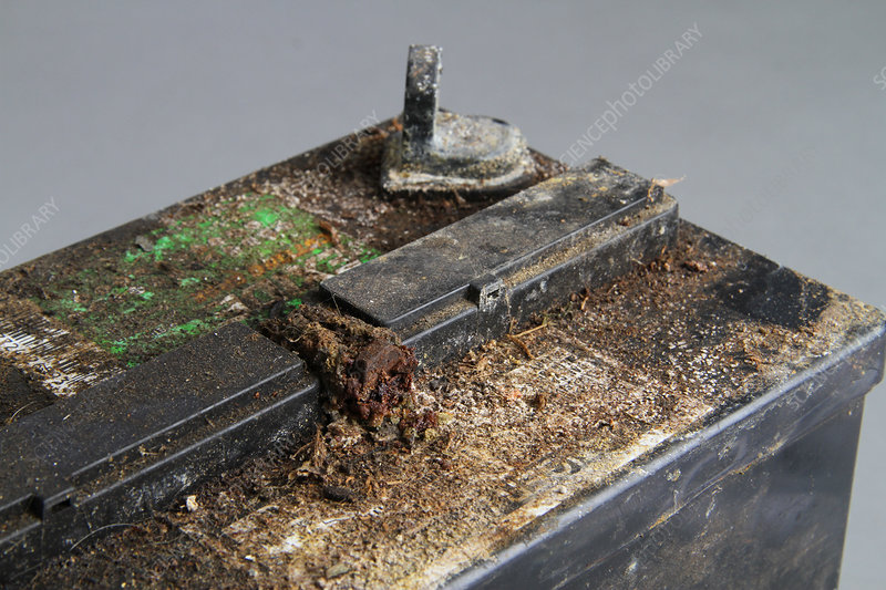 Corroded automotive battery