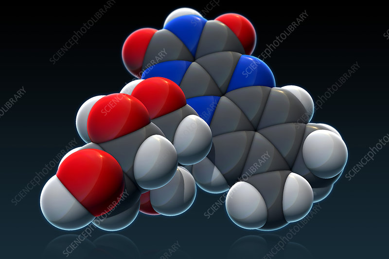 Vitamin B2, Molecular Model, illustration