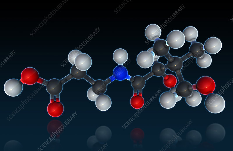 Vitamin B5, Molecular Model, illustration