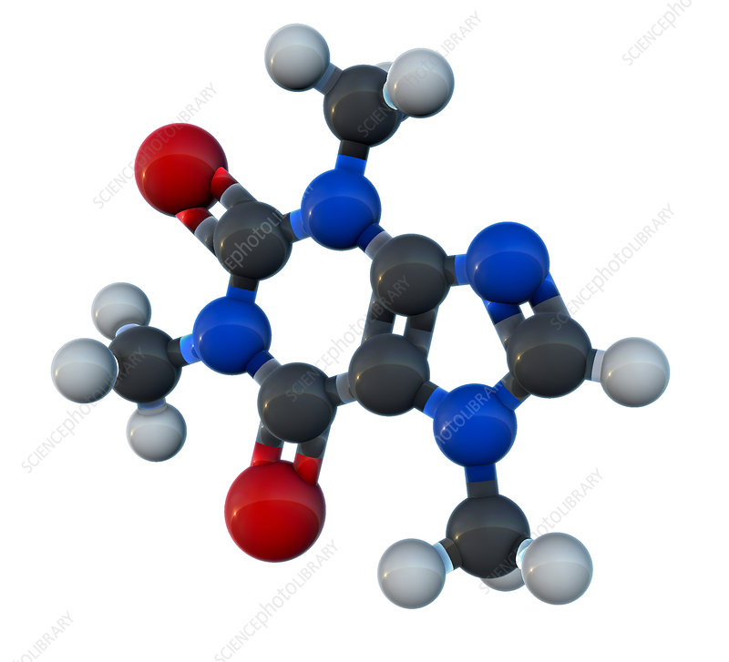 Caffeine Molecular Model, illustration