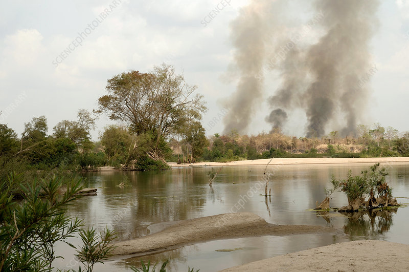 Fires along Mekong River