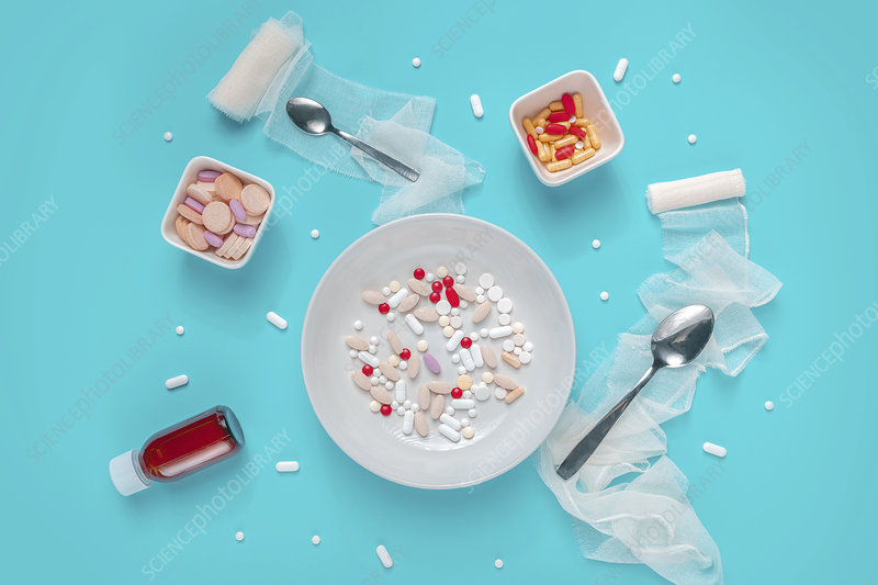 Pills and drug abuse, conceptual image