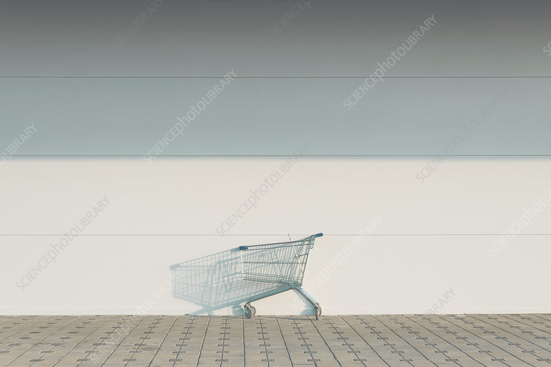 Empty shopping cart outside