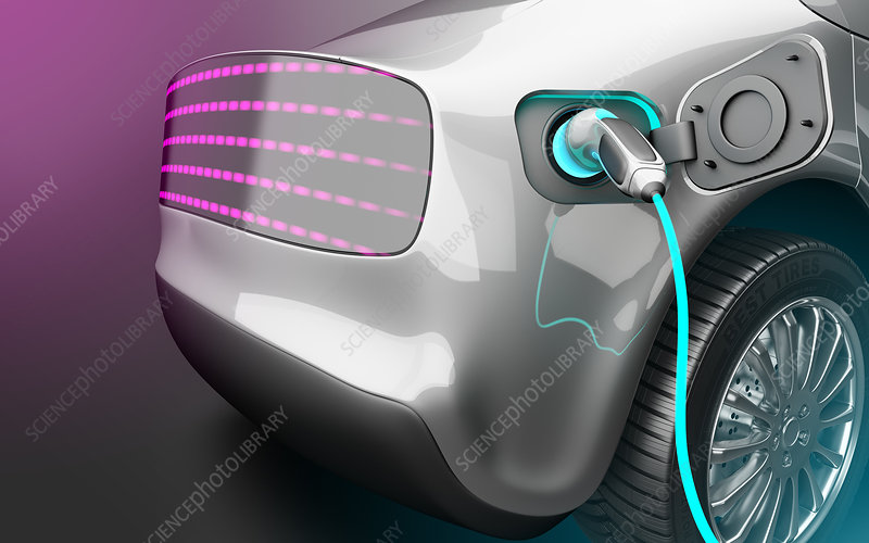 Electric car charging, illustration