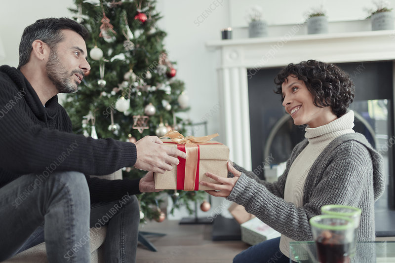 Husband giving Christmas gift to wife with tree