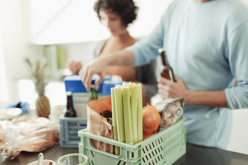 Couple unloading groceries from crates at kitchen counter