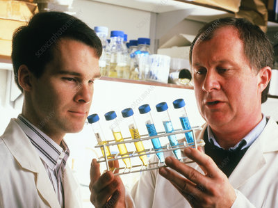 Gene therapy researchers with tagged cancer cells