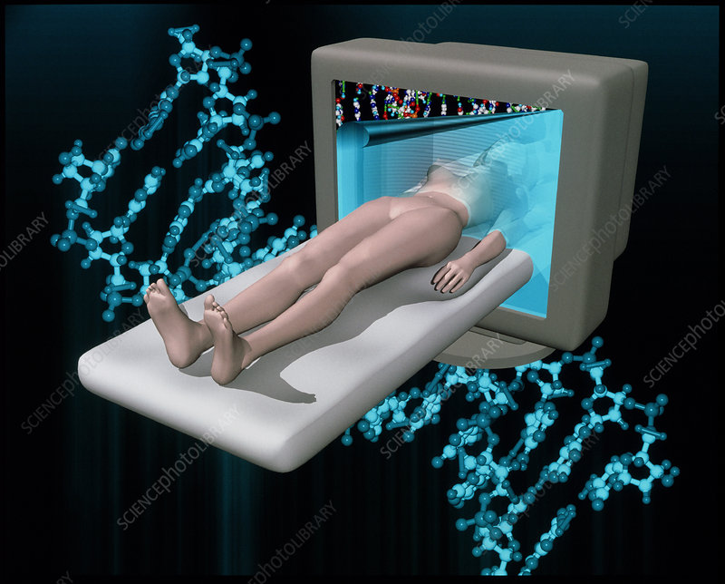 Conceptual artwork of human genetic analysis