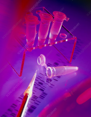 View of microtubes, pipette & DNA sequence