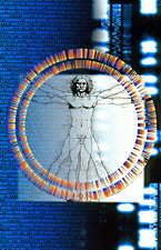 Artwork of male figure with genetic sequences