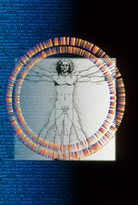 Artwork of male figure with genetic sequence
