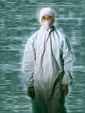 Biotechnology worker in sterile clothing