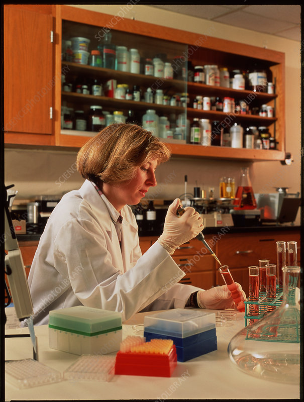 Researcher at work in a biochemical laboratory