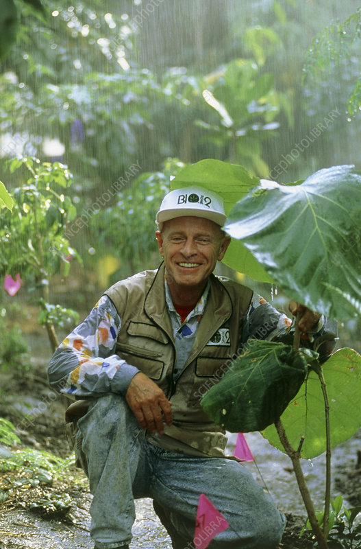 Roy Walford in Biosphere rain forest.