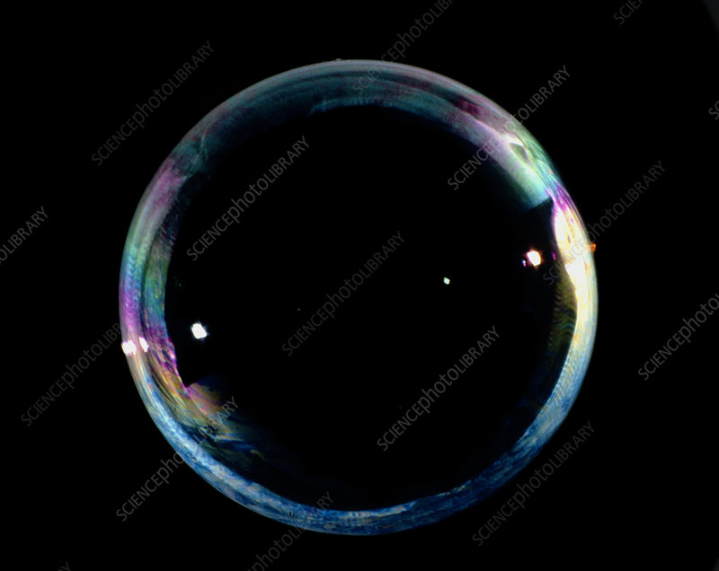 Soap bubble with a pattern of colours