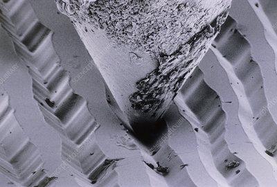 SEM diamond stylus travelling through LP grooves