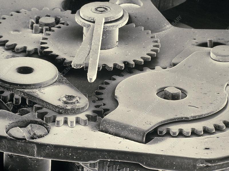 SEM of winding mechanism of Timex watch