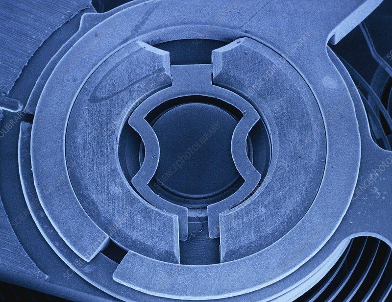 Tinted SEM of balance mechanism of Incabloc watch