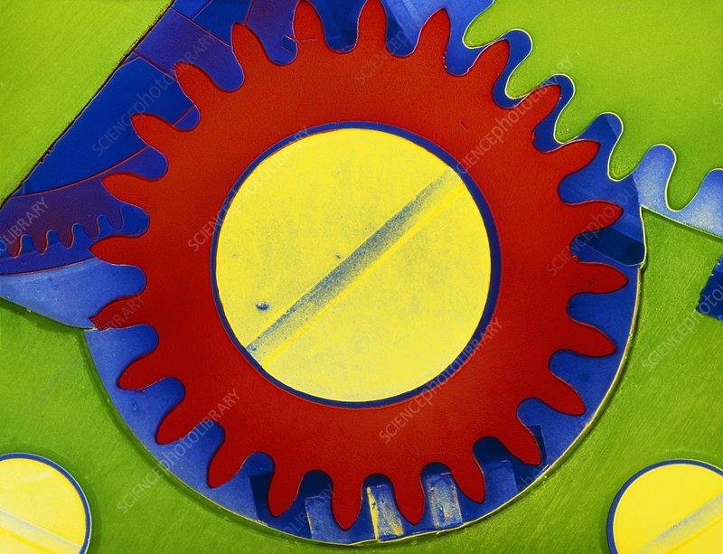 False-colour SEM of the crown wheel of a