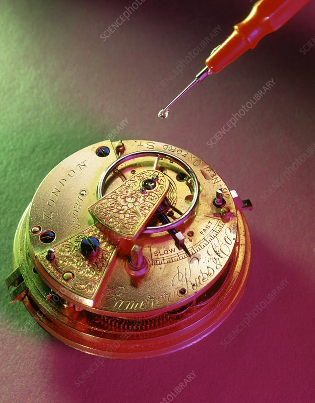 Oiling the balance arm of a pocket watch
