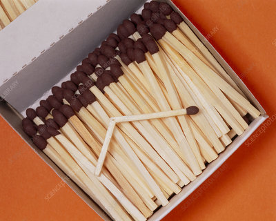 Wooden safety matches in an open box