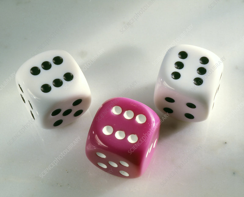 Three dice, each showing a six