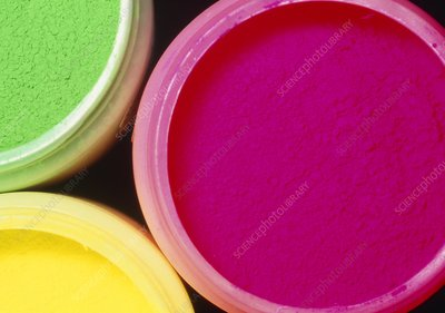 Overhead view of 3 jars of powder for paint or dye
