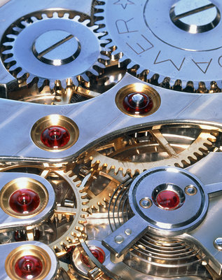 Cogs and gears of a 17-jewel Swiss watch