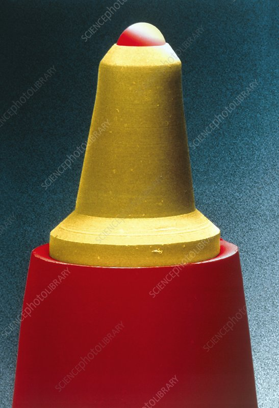 Coloured SEM of the nib of a ballpoint pen