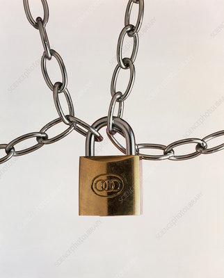 Locked padlock and chains
