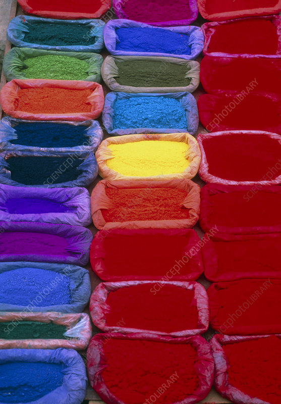 View of several bags of coloured dye powder