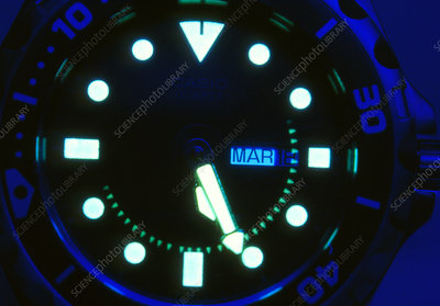 Close-up of a phosphorescent watch