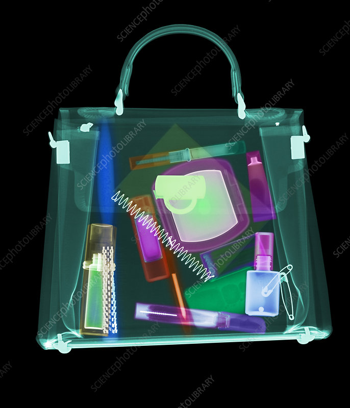Coloured X-ray of woman's handbag showing contents