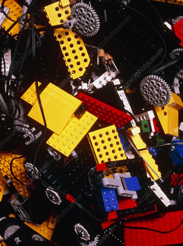 Assorted Lego bricks and cogs.