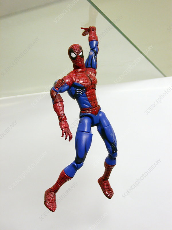 Spiderman toy with 'gecko tape'