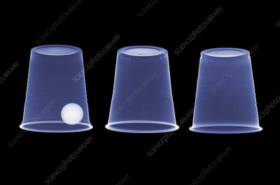 Cups and ball trick, X-ray